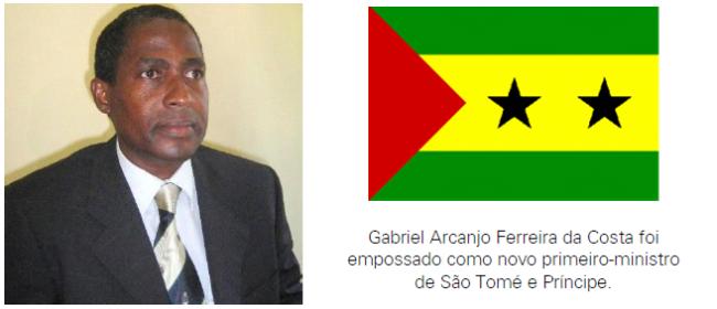 Gabriel Arcanjo Ferreira da Costa foi empossado como novo primeiro-ministro de São Tomé e Príncipe.