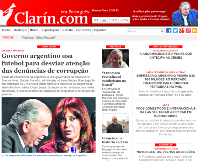 A edição digital do Clarín em português terá um resumo de reportagens sobre a Argentina, além de artigos e de entrevistas.