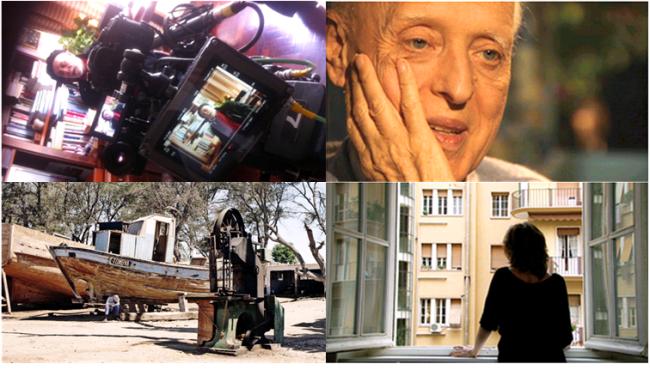 Em sentido horário, a partir do alto à esquerda: cenas dos documentários As Memórias Não se Apagam (2014), Azul Alvim (2012), Repare Bem (2013) e De Armas e Bagagens (2013).
