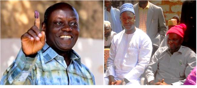 A segunda volta das eleições presidenciais da Guiné-Bissau será entre o ex-ministro José Mário Vaz e o líder da oposição, o independente Nuno Nabiam (na foto, de túnica branca e ao lado do ex-presidente Kumba Ialá, falecido em 4 de abril).