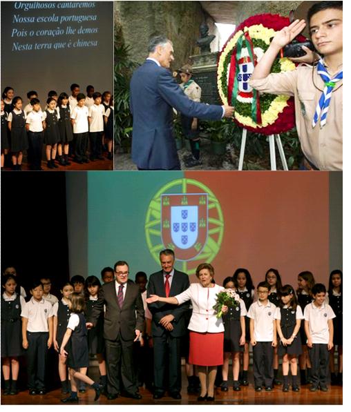 """Cavaco Silva depositou uma coroa de flores na Gruta de Camões e declarou-se """"emocionado"""" ao ouvir escuteiros e estudantes de Macau a falarem em Língua Portuguesa."""