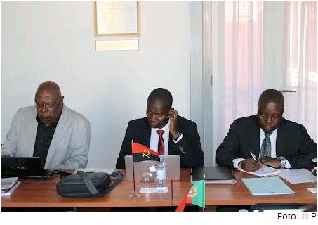 Da esq. para a dir.: Filipe Zau, Aldo Sambo e Celestino Lucas, membros da Comissão Nacional de Angola no IILP.