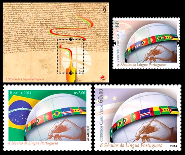 Os selos de Portugal, Brasil e Cabo Verde e o bloco filatélico dos CTT-Correios de Portugal celebrando a efeméride dos oito séculos da Língua Portuguesa.