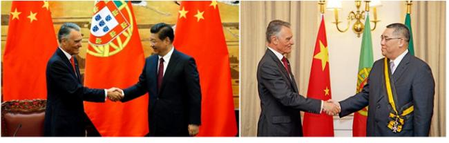 O presidente de Portugal, Cavaco Silva, foi recebido em Pequim pelo homólogo chinês Xi Jinping e em Macau pelo chefe do Executivo Fernando Chui Sai On.