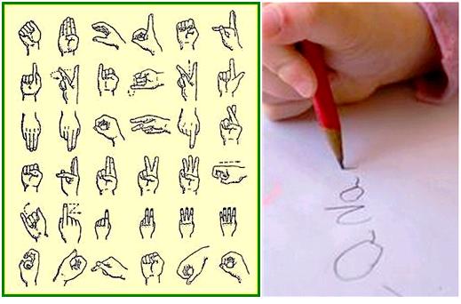 1acd- Alfabeto Libras - Criança Escrevendo