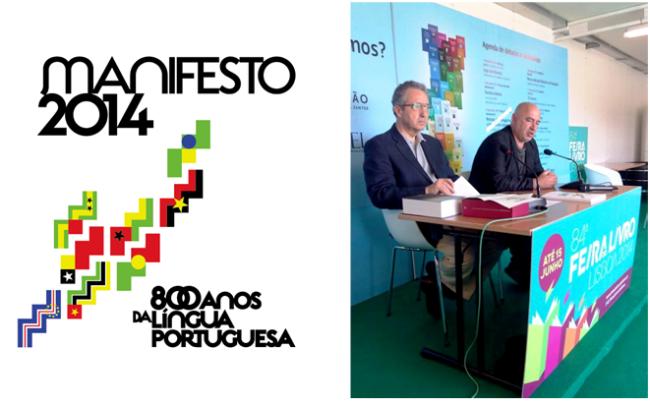 José Ribeiro e Castro e o editor João Pinto de Sousa no anúncio do manifesto sobre a Língua Portuguesa durante a Feira do Livro de Lisboa.
